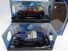 Solido - Scale 1/18 - Lot with 2 x Citroen Traction AV11 models - Blue & bordeaux red