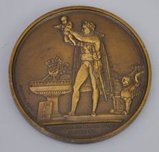 France – Napoleon medal 'At the baptism of his son' by Andrieu 1811 – Bronze