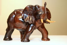 Beautiful carved wooden elephant.