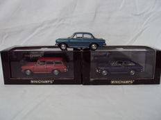Minichamps - Scale 1/43 -  Lot with 3 models: 3 x Volkswagen 1600 - Sedan, Variant & Fastback