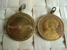 The Netherlands - Coin '100 Years of Dutch Independence 1813-1913' and 'Mariiage Wilhelmina and Prince Hendrik 1901'.
