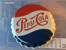 Decorative old tin Pepsi advertising sign, fun for on the wall - circa 1970