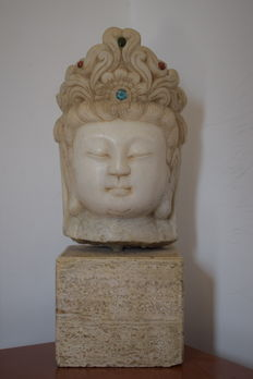 Head made from Guanyin marble - China - second half of the 20th century