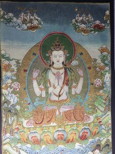 Representation of Avalokitesvara on fabric and silk - Nepal - early 20th century