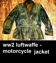 WW2 Leather german vintage motorcycles - pilot jacket from late '30s, authentic  item