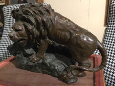 Large polychrome terracotta sculpture depicting a lion - signed Rossi - early 20th century