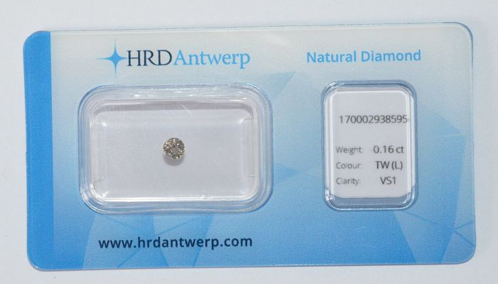 0.16 ct briljant geslepen diamant, TW(L), VS1