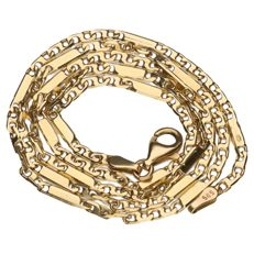 Yellow gold Figaro link necklace in 14 kt – 45 cm.