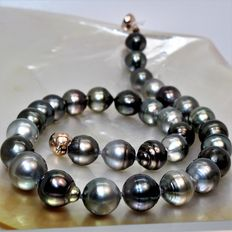 Cultivated Pearl Necklace from Tahiti - Baroque - Multicoloured - Diameter 12.1 x 14 mm.