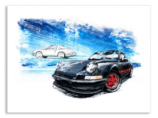 Porsche 911 Carrera Black (1961) - Giclee Art Poster - Limited Edition of 100 prints