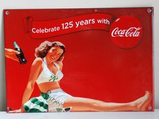 Enamel advertising sign - Celebrate 125 years with Coca Cola