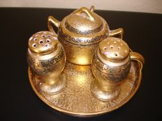 Gold Encrusted hand painted ceramic Set = Salt + Pepper Shakers+ Mustard Jar on Tray