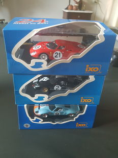 Ixo Models - Scale 1/43 - Lot with 3 model: 2 x Ford & 1x Ferrari - 24h Le Mans Winner 1965 & 1966 & 1968