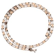 14 kt bi-colour gold link necklace in white gold and rose gold – Length: 43 cm.