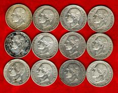 Spain – Alfonso XII (1874 – 1885), set of 12 silver coins of 2 pesetas – 1882 – MS·M. Madrid. (12).