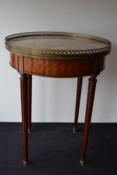 Walnut table with marble top and bronze gallery in Louis XVI style, Portugal, early 20th century