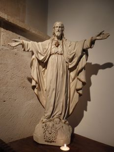 Large Saint statue ' Christ Sacred Heart ' - Brussels - ca. 1900
