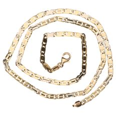 14k yellow and white gold link necklace, length: 52 cm