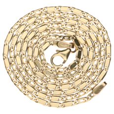 Yellow gold Figaro link necklace, 14 kt, length: 50.5 cm