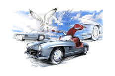 Mercedes-Benz 300 SL (W198) 1954 - Giclee Art Poster - limited edition of 3/100 pieces