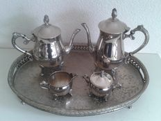 Silver plated coffee/tea set on large silver plated serving platter