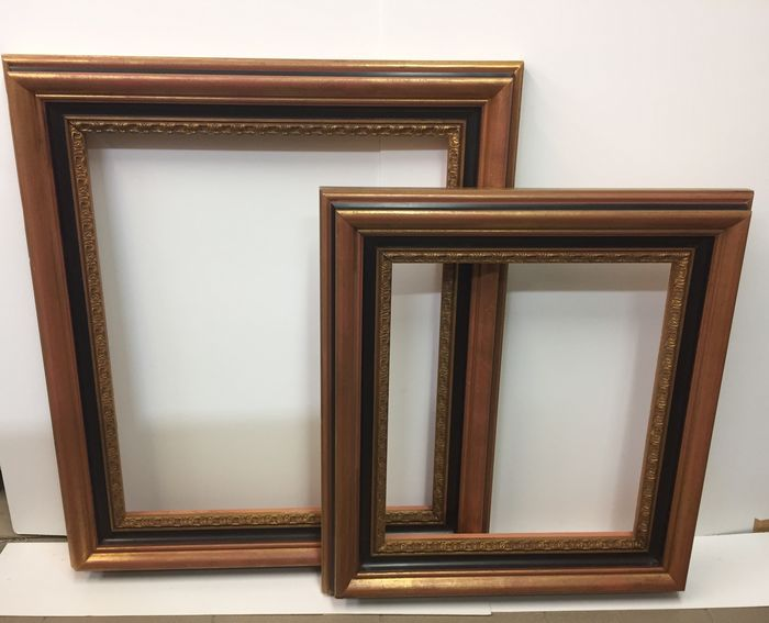 Two Large Italian Black And Gold Frames Wood Hand Gilded