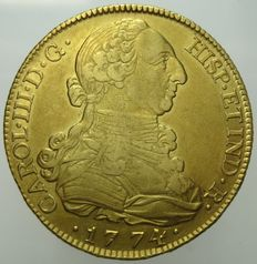 Spain – Charles III – 8 escudos 1774 Madrid – gold