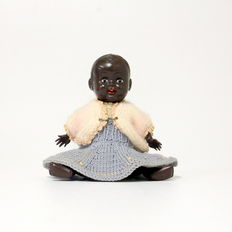 Rare dark O.K. Kader doll - B357½-2 - marked with globe - Hong Kong