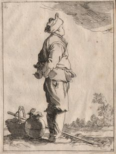 Abraham Bloemaert (1564 - 1651)  :  A landman - circa 1670, with two added prints