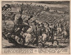 Antonio Tempesta (1555 - 1630) - War of the Romans Against the Batavians - The battle near Trier - First state etched by Tempesta himself - In professional matting - 1611