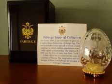 Fabergé - Authentic Imperial Egg Fabergé -Crystal -Crowning of the czar - base gold plated 24 Kt - + COA