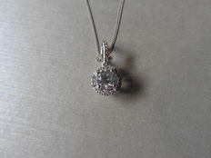 18k Gold Diamond Solitaire Pendant and Chain - 0.40ct / 0.17ct G-I, VS- SI2