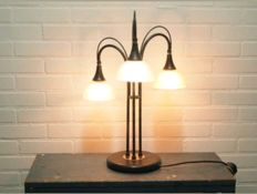 Wofi Leuchten-Metal three-light table/desk lamp with glass trumpets