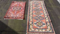 Two beautiful, hand-knotted,  oriental carpets, please note! No minimum price, bidding starts at €1.