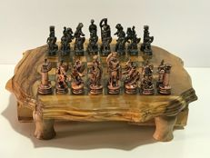 Vintage olive wood chess