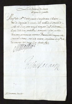 Letter with original autograph of Maria Giovanna Battista, the Duchess of Savoy - 1683