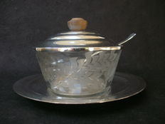 Caviar dish on silver plated serving tray 1st half 20th century