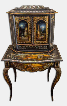 A Victorian gilt and mother-of-pearl inlaid 'japanned' papier mâché bonheur du jour - in the manner of Jennens and Bettridge - England - circa 1850