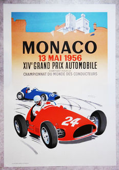 Large serigraphy of the Grand Prix of Monaco - J. Ramel - 1956