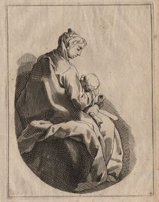 Abraham Bloemaert (1564 - 1651)  :  Madonna with child - circa 1670, with two added prints with cVs monogram (' Mordecai ' and ' the sower ')