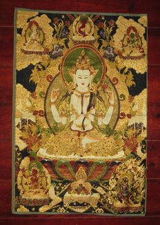 Large (60 x 90 cm) Oriental brocade tapestry of silk with gold
