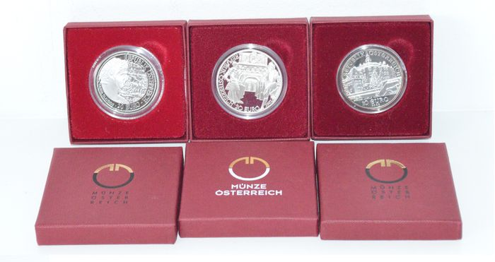 Austria – 10 and 20 Euro 2002/2010 (3 pieces) – silver