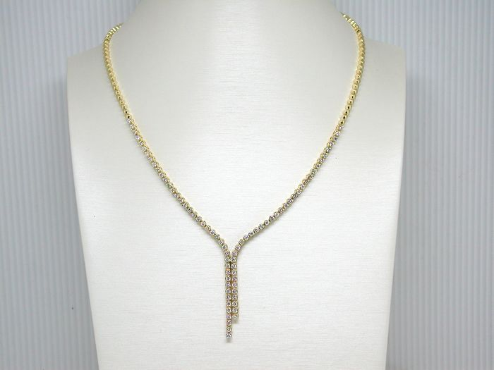 Tennis necklace set with diamonds - in total 7.00 ct.  – length: 45.0 cm