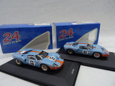 Ixo models - Scale 1/43 - Lot with 2 Le Mans Winner models: Ford GT40 #9 Le Mans 1968 & Ford GT40 #6 Le Mans 1969