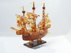 Handmade Baltic Amber sailing ship