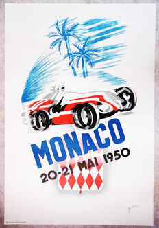 Large serigraphy of the Grand Prix of Monaco - B.Minne - 1950