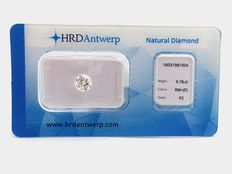 Brilliant-cut diamond, 0.76 ct, F P2 (rare white +)