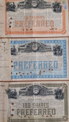 USA: 3 x  Missouri, Kansas and Texas Railway Company, 1890-1892 &  3 x Northern Pacific Railroad Company (Billings), 1881-1887.  Lot of 6 items.