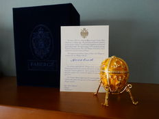 Fabergé - Authentic Imperial Egg Fabergé - Rosebud  - gold plated 24 Kt - signed + COA