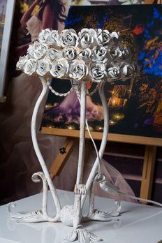 Wrought Iron handmade Lamp With Roses